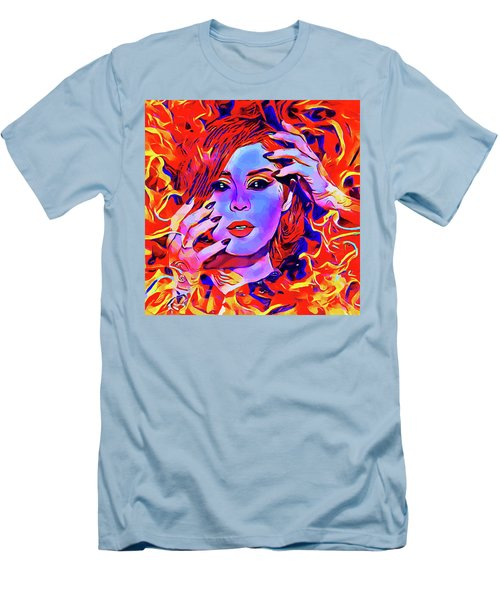 Fire Demon Woman Abstract Fantasy Dark Goth Art Men's T-Shirt (Athletic Fit)