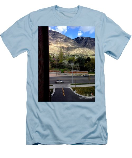 Men's T-Shirt (Slim Fit) featuring the photograph Fire Hydrant Guarding The Byu Y by Richard W Linford