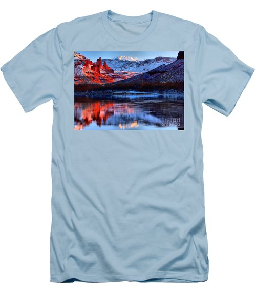 Men's T-Shirt (Slim Fit) featuring the photograph Fisher Towers Sunset Winter Landscape by Adam Jewell