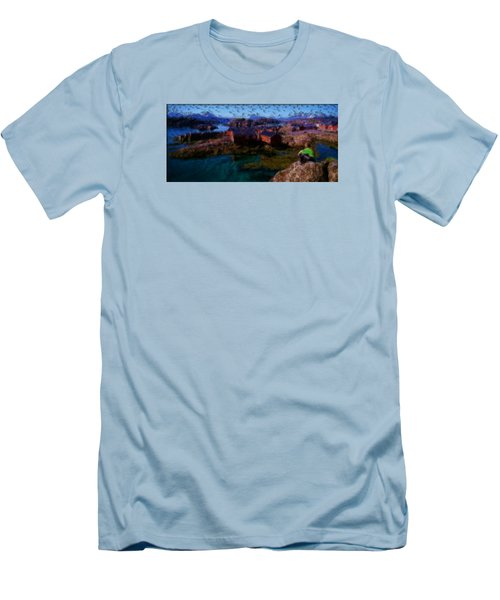 Men's T-Shirt (Slim Fit) featuring the painting Fishermen Cabins by Mario Carini