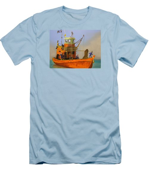 Fishing In Orange Men's T-Shirt (Athletic Fit)
