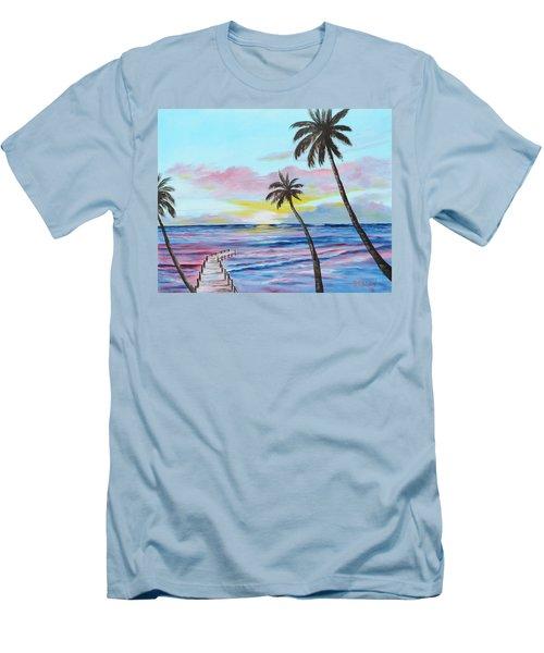 Fishing Pier Sunset Men's T-Shirt (Athletic Fit)