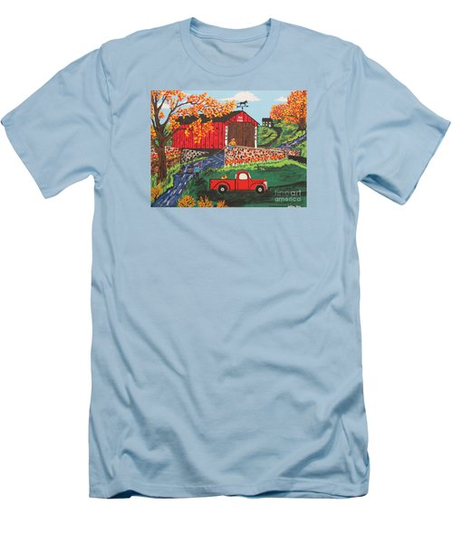 Men's T-Shirt (Slim Fit) featuring the painting Fishing Under The  Covered Bridge by Jeffrey Koss