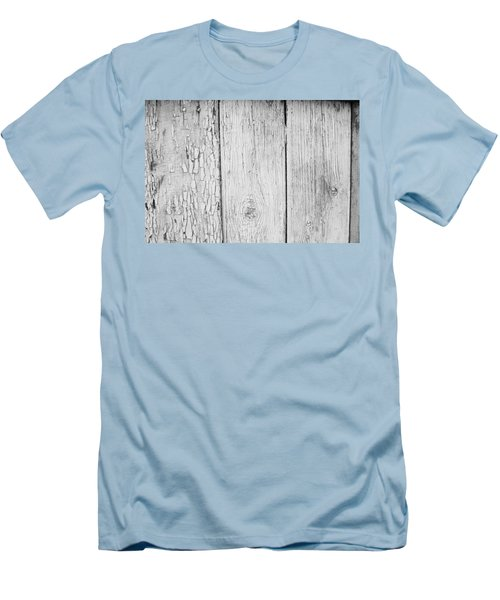 Men's T-Shirt (Slim Fit) featuring the photograph Flaking Grey Wood Paint by John Williams
