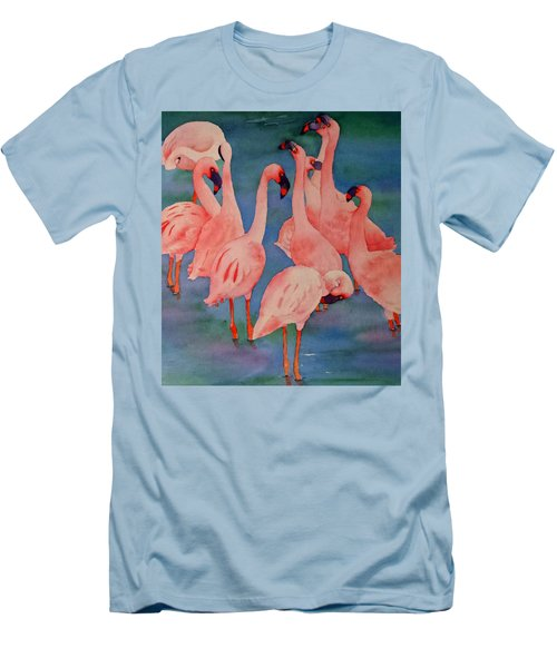 Flamingo Convention In The Square Men's T-Shirt (Slim Fit) by Judy Mercer