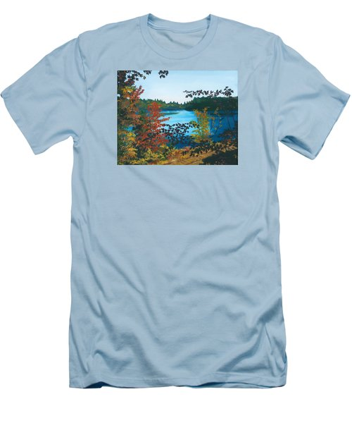 Men's T-Shirt (Slim Fit) featuring the painting Floodwood by Lynne Reichhart