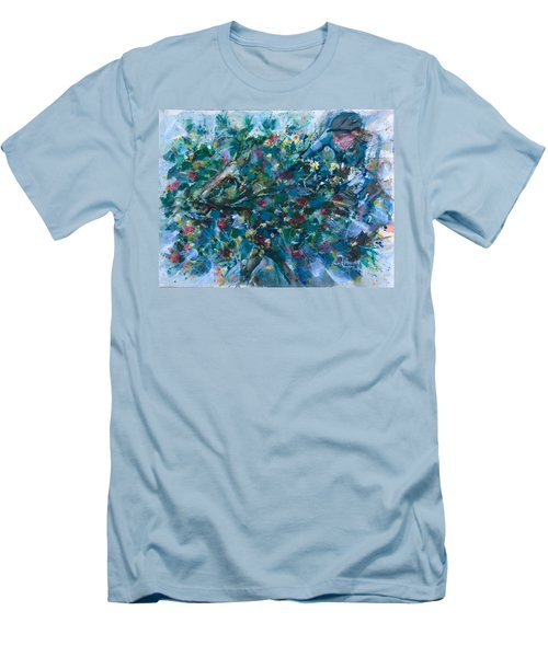 Men's T-Shirt (Slim Fit) featuring the painting Flow Away by Laila Awad Jamaleldin