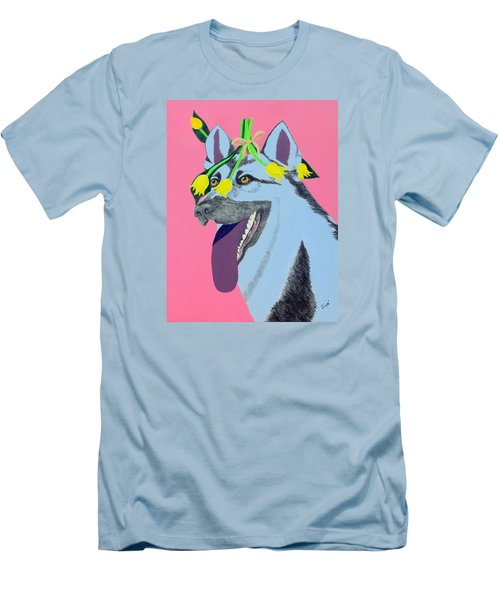 Men's T-Shirt (Slim Fit) featuring the painting Flower Dog 4 by Hilda and Jose Garrancho
