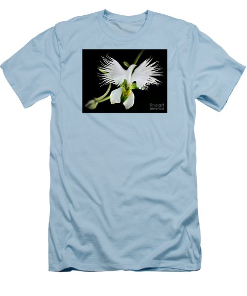 Flower Oddities - Flying White Bird Flower Men's T-Shirt (Athletic Fit)