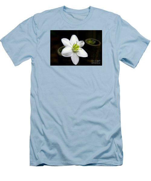 Men's T-Shirt (Slim Fit) featuring the photograph Flower On Bamboo by Lisa L Silva