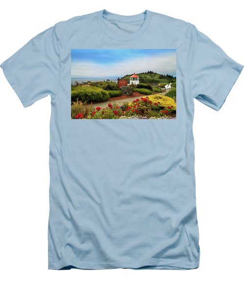 Men's T-Shirt (Athletic Fit) featuring the photograph Flowers At The Trinidad Lighthouse by James Eddy