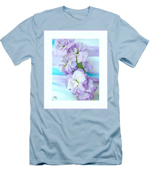 Men's T-Shirt (Slim Fit) featuring the mixed media Fluffy Flowers by Marsha Heiken