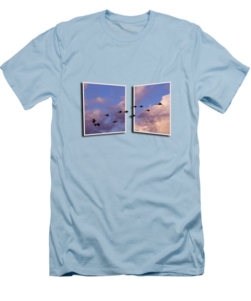 Flying Across Men's T-Shirt (Slim Fit) by Roger Wedegis