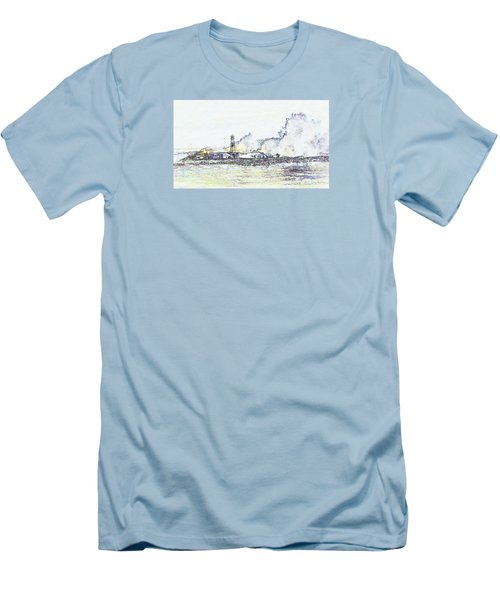 Men's T-Shirt (Athletic Fit) featuring the photograph Foamy Sea At The Breakwater by Nareeta Martin