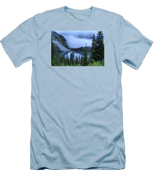 Fog Over Louise Lake Men's T-Shirt (Slim Fit) by Lynn Hopwood