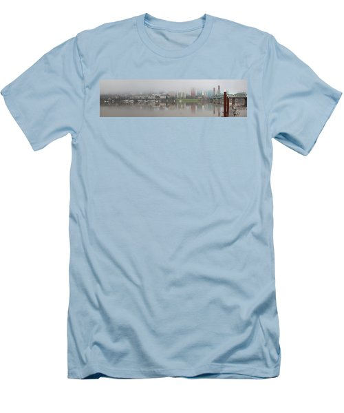 Foggy Day Along Portland Waterfront Panorama Men's T-Shirt (Athletic Fit)