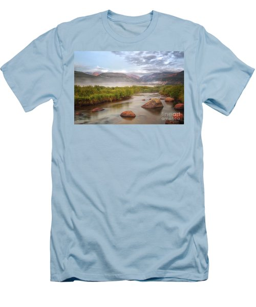 Foggy Morning In Moraine Park Men's T-Shirt (Slim Fit) by Ronda Kimbrow