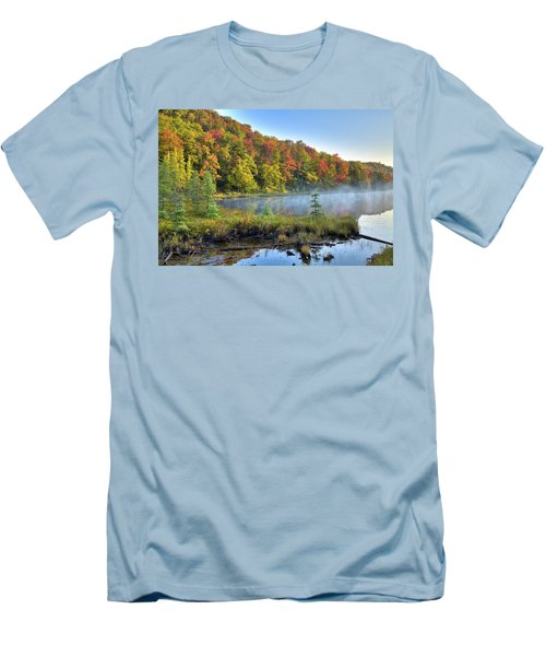 Men's T-Shirt (Athletic Fit) featuring the photograph Foggy Morning On The Pond by David Patterson