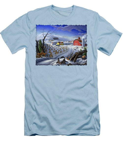 Folk Art Winter Landscape Men's T-Shirt (Athletic Fit)