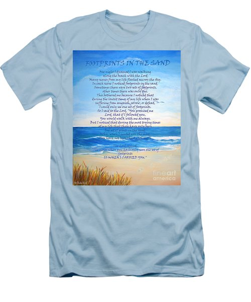Footprints In The Sand Men's T-Shirt (Slim Fit) by Shelia Kempf