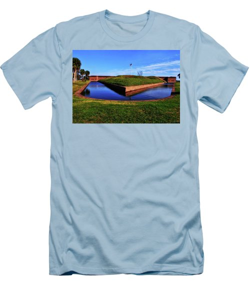 Fort Pulaski Moat - Demilune Wall 001 Men's T-Shirt (Slim Fit) by George Bostian