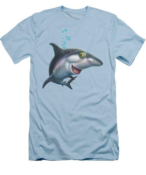 friendly Shark Cartoony cartoon under sea ocean underwater scene art print blue grey  Men's T-Shirt (Athletic Fit)
