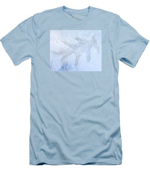 Frozen Oak Leaf Imprint Men's T-Shirt (Slim Fit) by Kathy M Krause