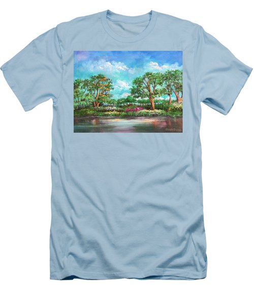 Men's T-Shirt (Slim Fit) featuring the painting  Summer In The Garden Of Eden by Randol Burns