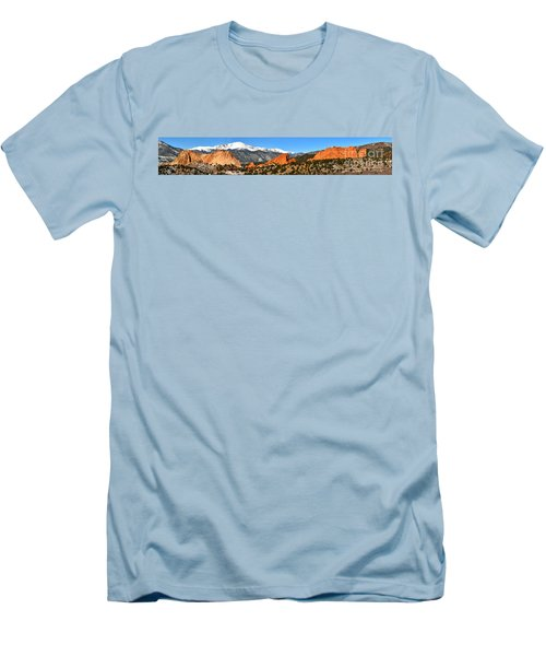 Men's T-Shirt (Slim Fit) featuring the photograph Garden Of The Gods Extended Panorama by Adam Jewell