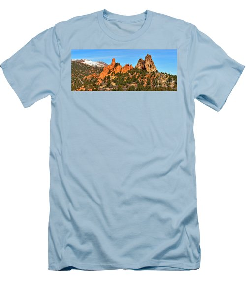 Men's T-Shirt (Slim Fit) featuring the photograph Garden Of The Gods High Point Panorama by Adam Jewell
