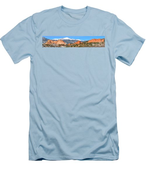 Men's T-Shirt (Slim Fit) featuring the photograph Garden Of The Gods Red Rock Panorama by Adam Jewell