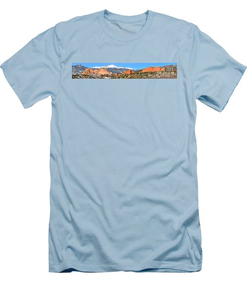 Men's T-Shirt (Slim Fit) featuring the photograph Garden Of The Gods Spring Panorama by Adam Jewell