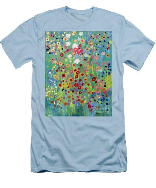 Men's T-Shirt (Slim Fit) featuring the painting Garden's Dance by Stacey Zimmerman