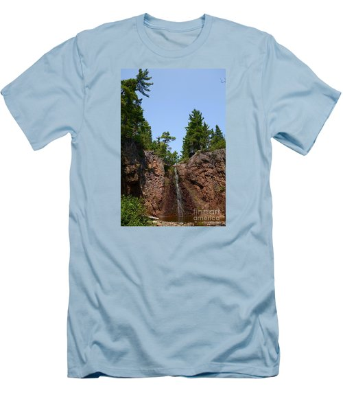 Men's T-Shirt (Slim Fit) featuring the photograph Gauthier Falls In Late August by Sandra Updyke