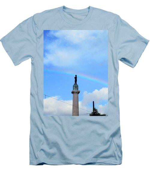 General Robert E. Lee Mounment In Retro Spectrum Men's T-Shirt (Athletic Fit)