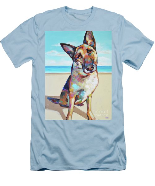 German Shepard On The Beach Men's T-Shirt (Athletic Fit)