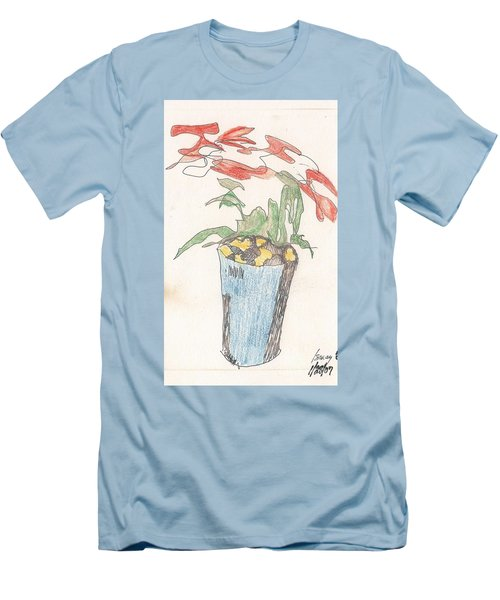 Men's T-Shirt (Athletic Fit) featuring the drawing Gesture Drawing Of Poinsettia by Rod Ismay