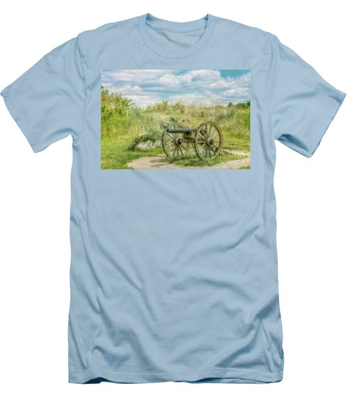 Gettysburg Battlefield Cannon Ver Two Men's T-Shirt (Slim Fit) by Randy Steele