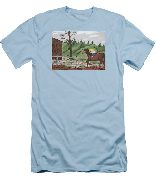 Men's T-Shirt (Slim Fit) featuring the painting Gianna Riding  Bareback by Jeffrey Koss