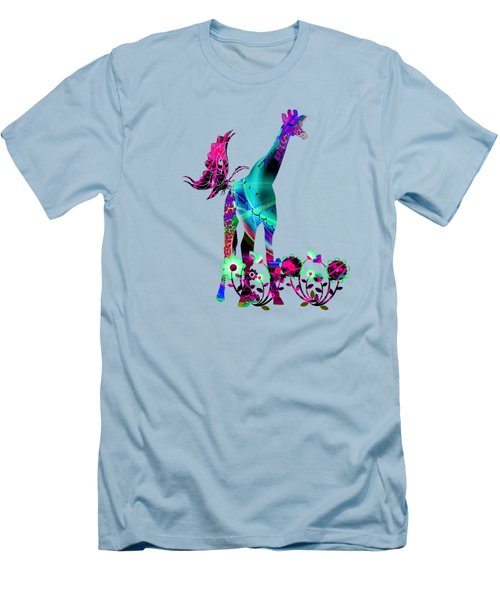 Giraffe And Flowers2 Men's T-Shirt (Athletic Fit)