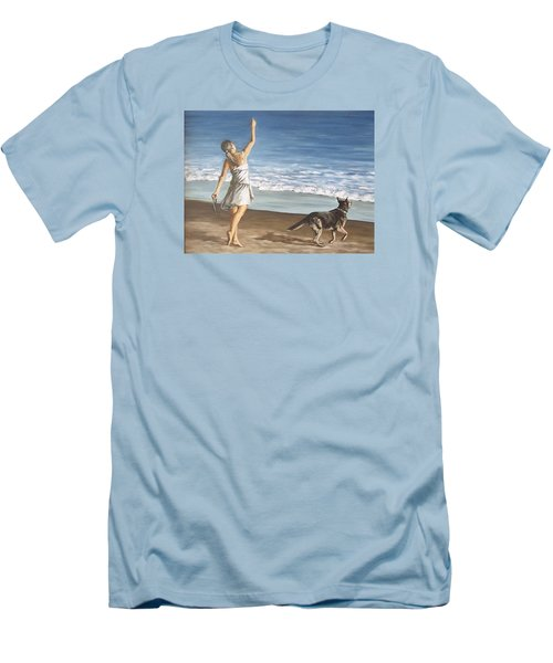 Men's T-Shirt (Slim Fit) featuring the painting Girl And Dog by Natalia Tejera