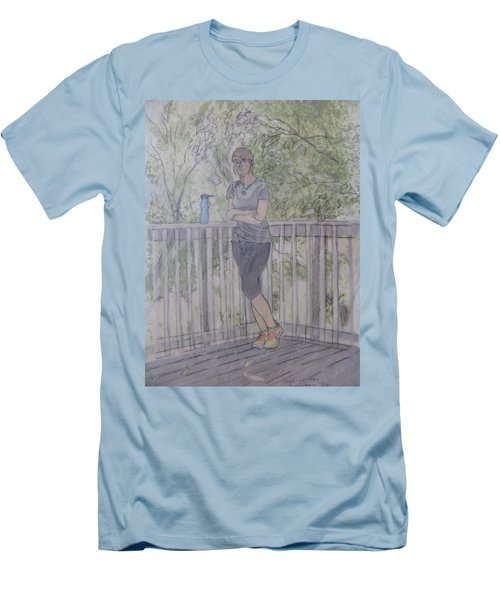 Men's T-Shirt (Athletic Fit) featuring the painting Girl At The Mountain Top by Joel Deutsch