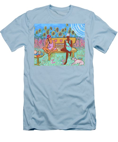 Men's T-Shirt (Athletic Fit) featuring the painting Girlfriends' Teatime IIi by Xueling Zou