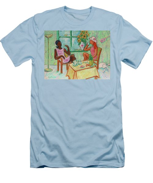Men's T-Shirt (Athletic Fit) featuring the painting Girlfriends' Teatime V by Xueling Zou