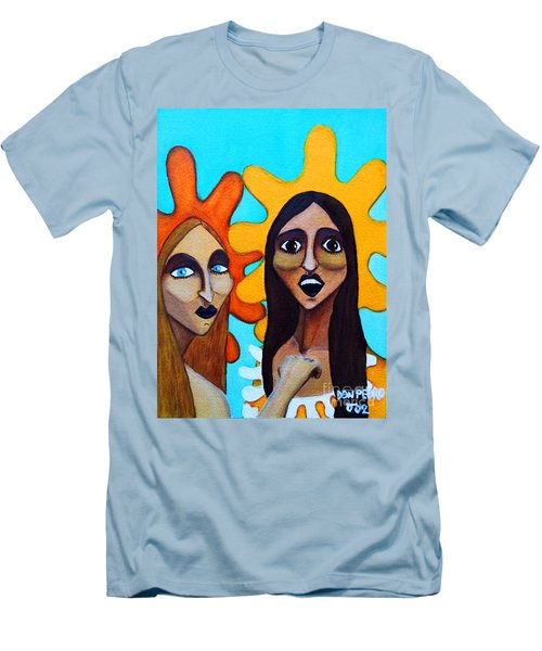 Men's T-Shirt (Slim Fit) featuring the painting Girls Caught In Fraganti by Don Pedro De Gracia