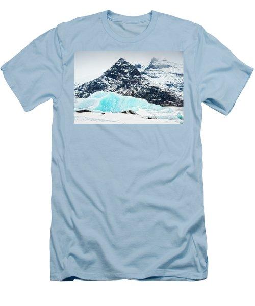 Men's T-Shirt (Slim Fit) featuring the photograph Glacier Landscape Iceland Blue Black White by Matthias Hauser