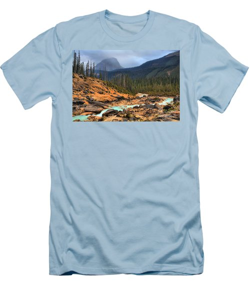 Men's T-Shirt (Slim Fit) featuring the photograph Glacier Waters Flowing Through Yoho National Park by Adam Jewell