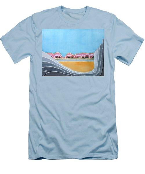 Global Warming Silk Melting Glaciers Valley Or Where Did All My Blue Glaciers Go  Men's T-Shirt (Slim Fit) by Rachel Hershkovitz