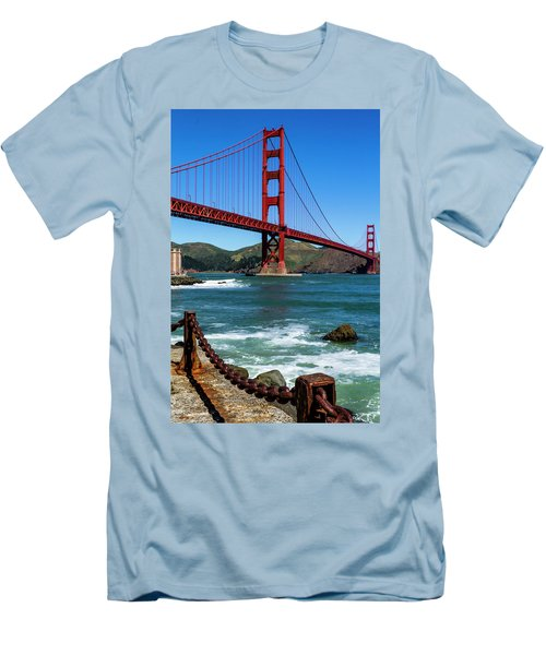 Golden Gate Bridge From Fort Point Men's T-Shirt (Slim Fit) by Teri Virbickis