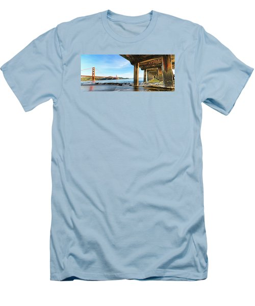 Men's T-Shirt (Slim Fit) featuring the photograph Golden Gate Bridge From Under Fort Point Pier by Steve Siri